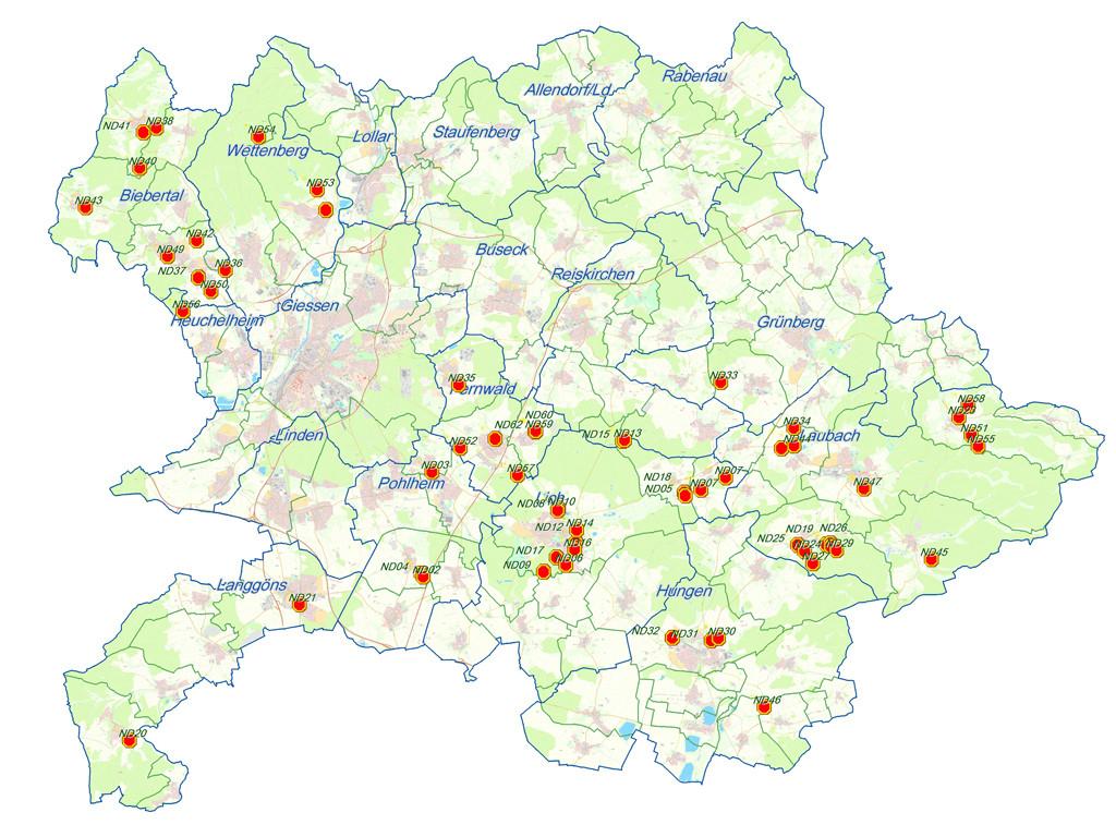 Eine Landkarte macht auf einen Blick deutlich, wo im Landkreis Gießen ausgewiesene Naturdenkmale zu finden sind. Auf der Homepage des Landkreises findet man weitere Informationen zu jedem einzelnen Nautrdenkmal.